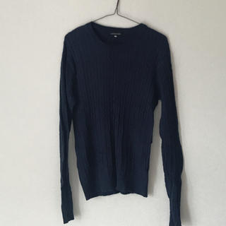ザラ(ZARA)のブルー セーター ケーブル編み メンズ レディース 秋冬 丸襟(ニット/セーター)