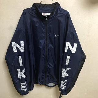 ナイキ(NIKE)の90s NIKE ナイロンジャケット 袖プリント デカロゴ  古着 ビンテージ (ナイロンジャケット)