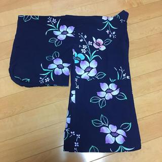 ネイビー紫花柄 浴衣(浴衣)