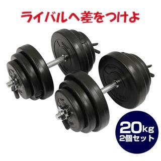 ★送料無料★圧倒的な筋量を セメントダンベル 20kg×2(トレーニング用品)