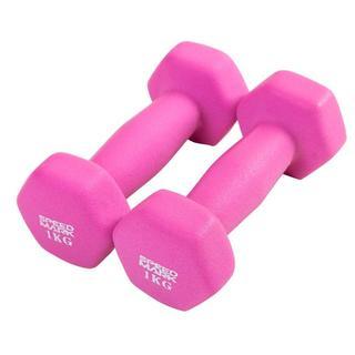 いろんなトレーニングができる♪ ダンベル ピンク色 1kg×2個セット(トレーニング用品)