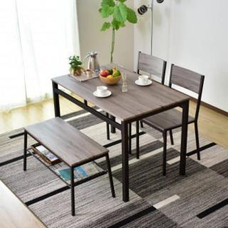 木目調 ダイニングテーブル ベンチ セット ブラウン