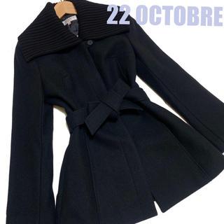 ヴァンドゥーオクトーブル(22 OCTOBRE)のオクトーブル ニット襟 ウール アンゴラ カシミヤ 上質 コート ブラック 美品(ピーコート)