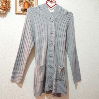シマムラ(しまむら)のフード付き ウエストリボン グレー カーディガン♥️Lサイズ GU(ニット/セーター)
