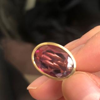 リング トルマリン k14 ピンクトルマリン インドジュエリー  大粒(リング(指輪))