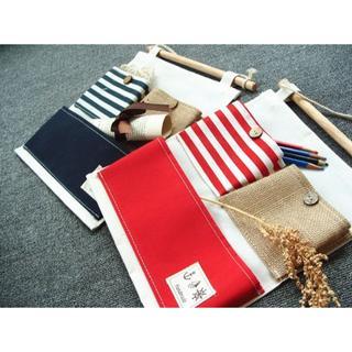 ウォールポケット マリン風 コンパクトサイズ ネイビーブルーとレッドの2色セット(日用品/生活雑貨)