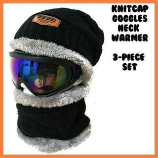 ゴーグル スノーボード スノボ スキー スノー ニット帽 黒 スヌード セット(アクセサリー)