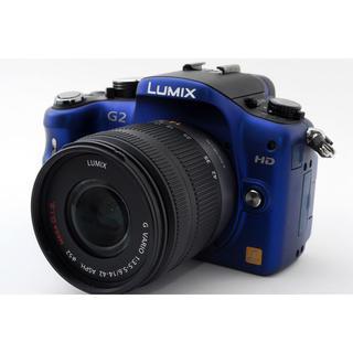 パナソニック(Panasonic)の★純正カメラバッグ付き!WiFi対応★LUMIX G2 ブルー レンズキット(ミラーレス一眼)