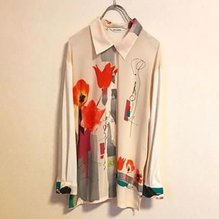【vintage】art motif design shirt 日本製(シャツ)