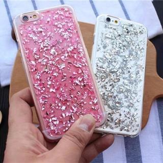 キラキラ ラメ 銀箔 クリアケース iPhone7/8 ピンク(iPhoneケース)