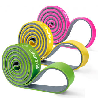4UMOR エクササイズバンド フィットネスチューブ 両色複合 トレーニングチ(トレーニング用品)
