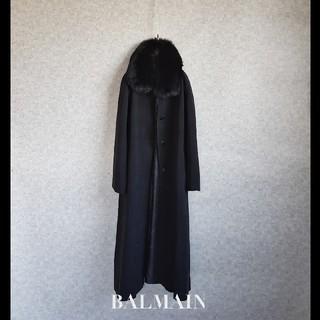 バルマン(BALMAIN)の超高級 美品 バルマン 希少三層構造シルク100% ビッグリアルファーコート(毛皮/ファーコート)
