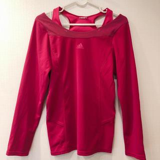 アディダス(adidas)の美品 adidas 長袖 ティーシャツ ピンク 赤 ブランド スポーツウェア 冬(Tシャツ(長袖/七分))