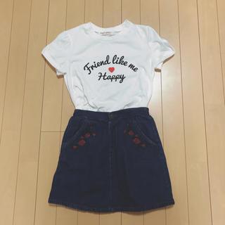 シマムラ(しまむら)のロゴTシャツ ローズ刺繍デニムフレアスカート セット売り 150 難あり(スカート)