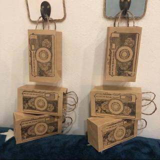 ❁ハンドメイド❁ クラフトミニ紙袋  アンティークカメラ  6枚セット(カード/レター/ラッピング)