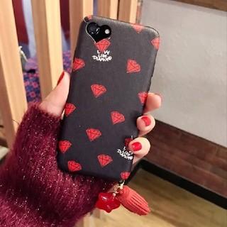 Black Heart タッセル付きiPhoneケース ダイヤモンド(iPhoneケース)