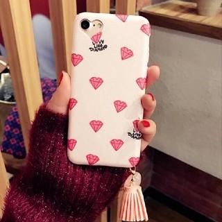 Pink Heart タッセル付きiPhoneケース ダイヤモンド(iPhoneケース)