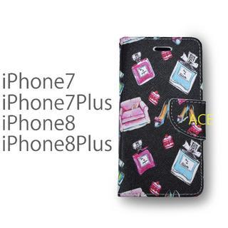 iPhone8 7 プラス 可愛い ケース ヒール コスメ 香水 手帳型 レザー(iPhoneケース)