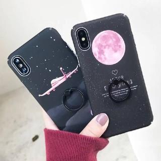 iPhoneケース ピンクムーン 惑星 ブラック *バンカーリング付き(iPhoneケース)