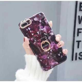 iPhone6/6s/7/8ケース 大理石 バンカーリング付き 紫(iPhoneケース)