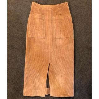 デミルクスビームス(Demi-Luxe BEAMS)のヌードピンク スリットタイトスカート(ひざ丈スカート)