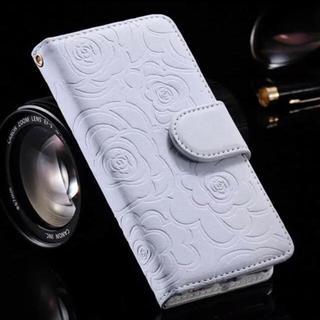iPhone7 8  【ホワイト】カメリア 高級感 レザー  手帳型ケース(iPhoneケース)