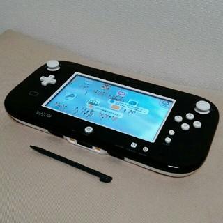 Wii U - 任天堂 wiiu ゲームパッド黒 白ボタン交換 正常動作確認済 タッチペン付