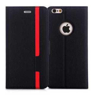めちゃ売れ◇iPhoneケース手帳型 保護ケース(ブラック+レッド)◇(iPhoneケース)
