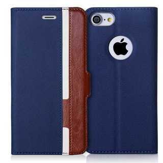iPhoneケース手帳型 保護ケース(ネイビー+ブラウン)(iPhoneケース)
