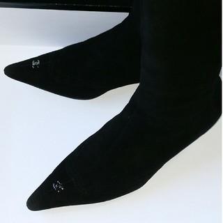 シャネル(CHANEL)のCHANELシャネルブーツロングブーツレザースエード黒色ブラック秋冬(ブーツ)