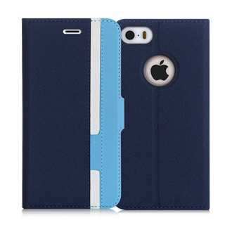 iPhoneケース手帳型 保護ケース(ネイビー+ブルー)(iPhoneケース)