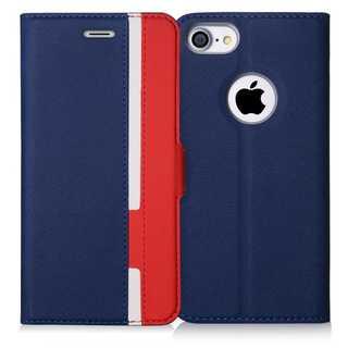 iPhoneケース手帳型 保護ケース(ネイビー+レッド)(iPhoneケース)