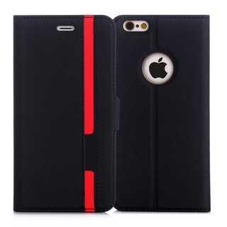 iPhoneケース手帳型 保護ケース(ブラック+レッド)(iPhoneケース)