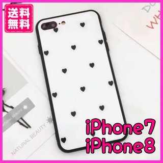 iPhone7 8 6 6sケース ハートドット柄 韓国風 強化ガラス(iPhoneケース)