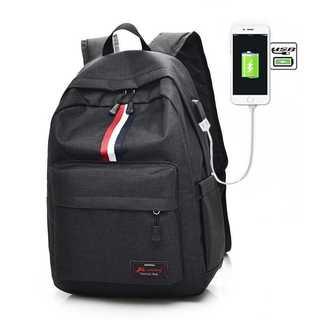 OF008 USBポート付き!大容量 バックパック リュック 黒(リュック/バックパック)