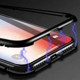 強化ガラス メタル製 超ハード スカイケース ブラック ホワイト iphone(iPhoneケース)