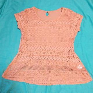 ジーユー(GU)のレース Tシャツ ペプラム XL d51(Tシャツ(半袖/袖なし))
