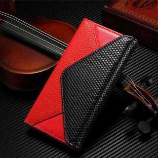 赤★GALAXY s7 edge用 レザー手帳型 ケース カバー★(Androidケース)