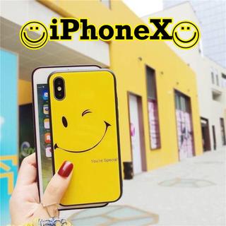 iPhoneX イエロー スマイル ウインク ガラス ソフトケース(iPhoneケース)