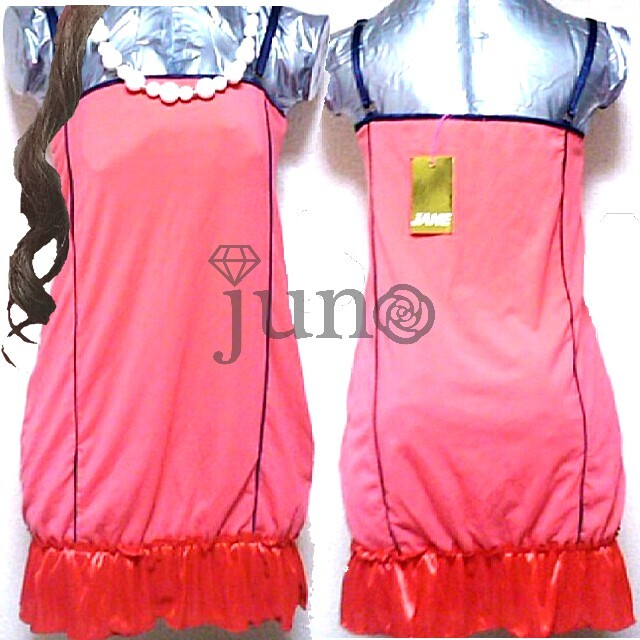 GLAMOROUS JANE(グラマラスジェーン)のグラマラスジェーン マーメイド 裾 フリル キャミワンピース 赤 ピンク レディースのワンピース(ミニワンピース)の商品写真