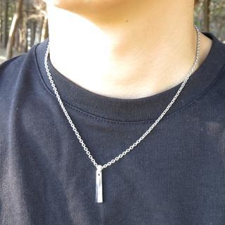 シルバー メタルネックレス スティックネックレス メンズ(ネックレス)
