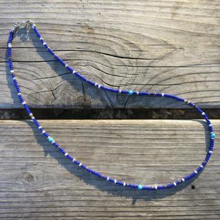 ネイティブカラー ビーズネックレス 青 55cm(ネックレス)