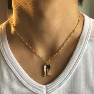 人気!アメリカンフラッグ ゴールドネックレス 40cm +5cm(ネックレス)