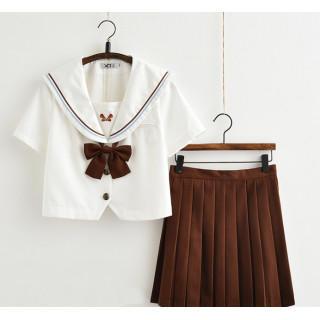 コスプレ 学生服 半袖 ブラウン M セーラー服 上下セット リボン付き(衣装一式)