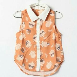 エフオーキッズ(F.O.KIDS)の【120】ALGY アルジー オレンジ色 ノースリーブシャツ パイナップル柄(Tシャツ/カットソー)