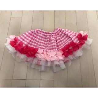 フェフェ(fafa)のpanpantutu 美品 花びら フリル チェック ピンク Sサイズ(スカート)