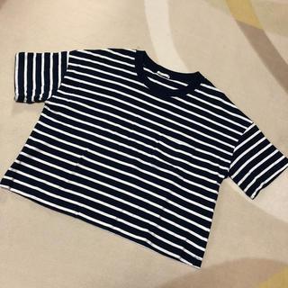 ジーユー(GU)のGU ボーダーショート丈シャツ(Tシャツ(半袖/袖なし))