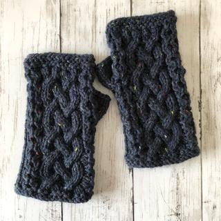 手編み☆アラン模様のハンドウォーマー(ネイビー/ツィード)(手袋)