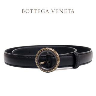 ボッテガヴェネタ(Bottega Veneta)の6 BOTTEGA VENETA ブラック×グレー編み込みレザーベルト85/34(ベルト)