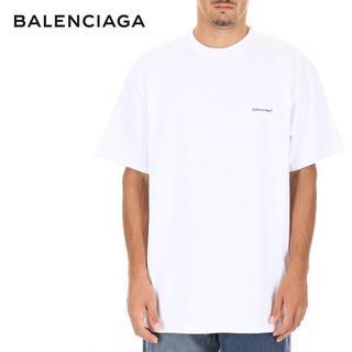 バレンシアガ(Balenciaga)の1 BALENCIAGA 18aw ロゴプリント クールネック TシャツM(Tシャツ/カットソー(半袖/袖なし))